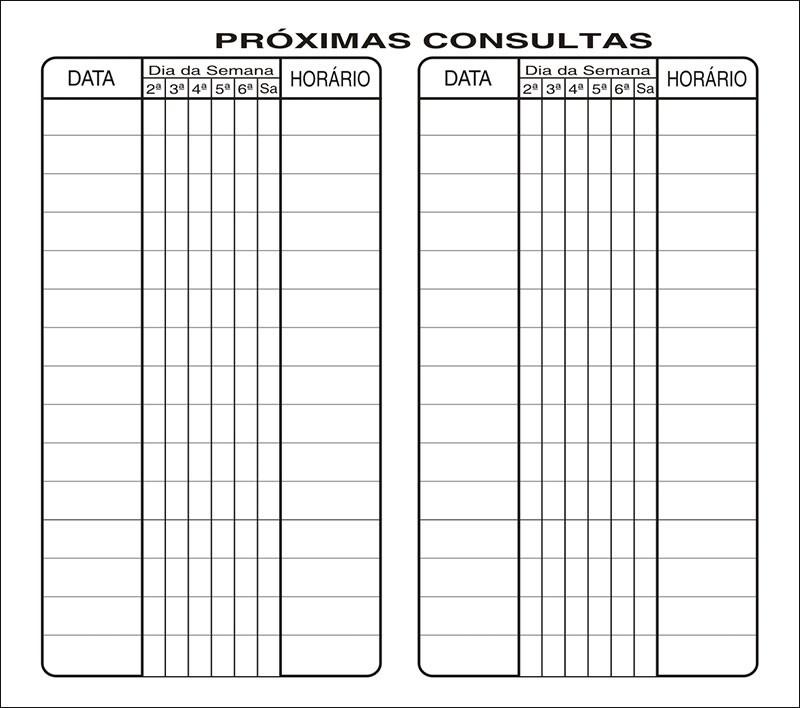 Carteirinha de Próxima Consulta e Pagamento Personalizado - Cod: 001